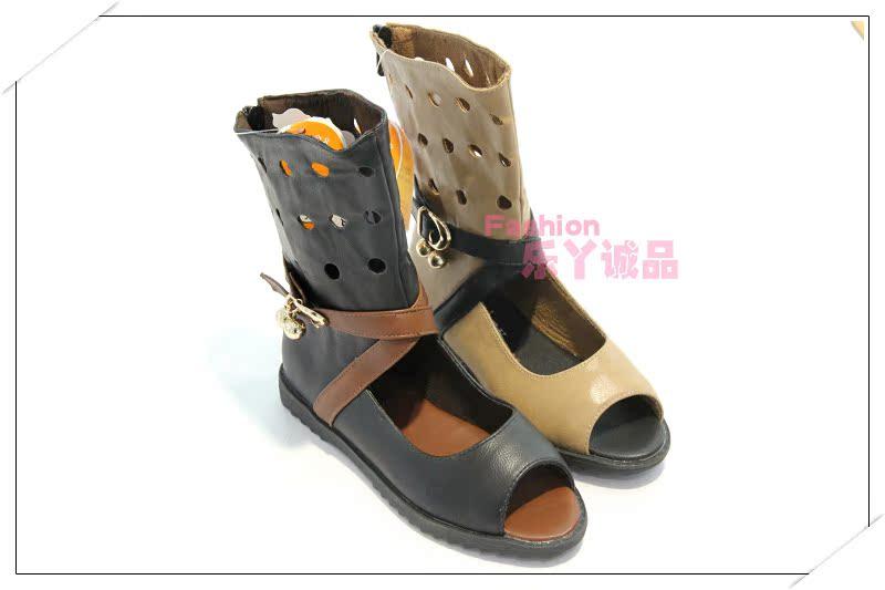 雨披奔仔女正品时尚单皮半凉靴鱼嘴靴镂空露趾雨衣、童鞋图片