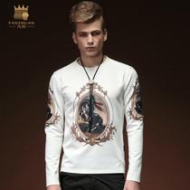 凡转2015春装新款男士青年长袖印花T恤潮男士修身时尚打底衫15527