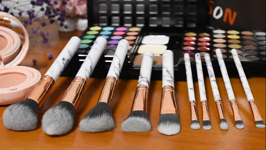Custom 10pcs marble makeup brush, Pro art high quality cosmetic makeup brush set Private label