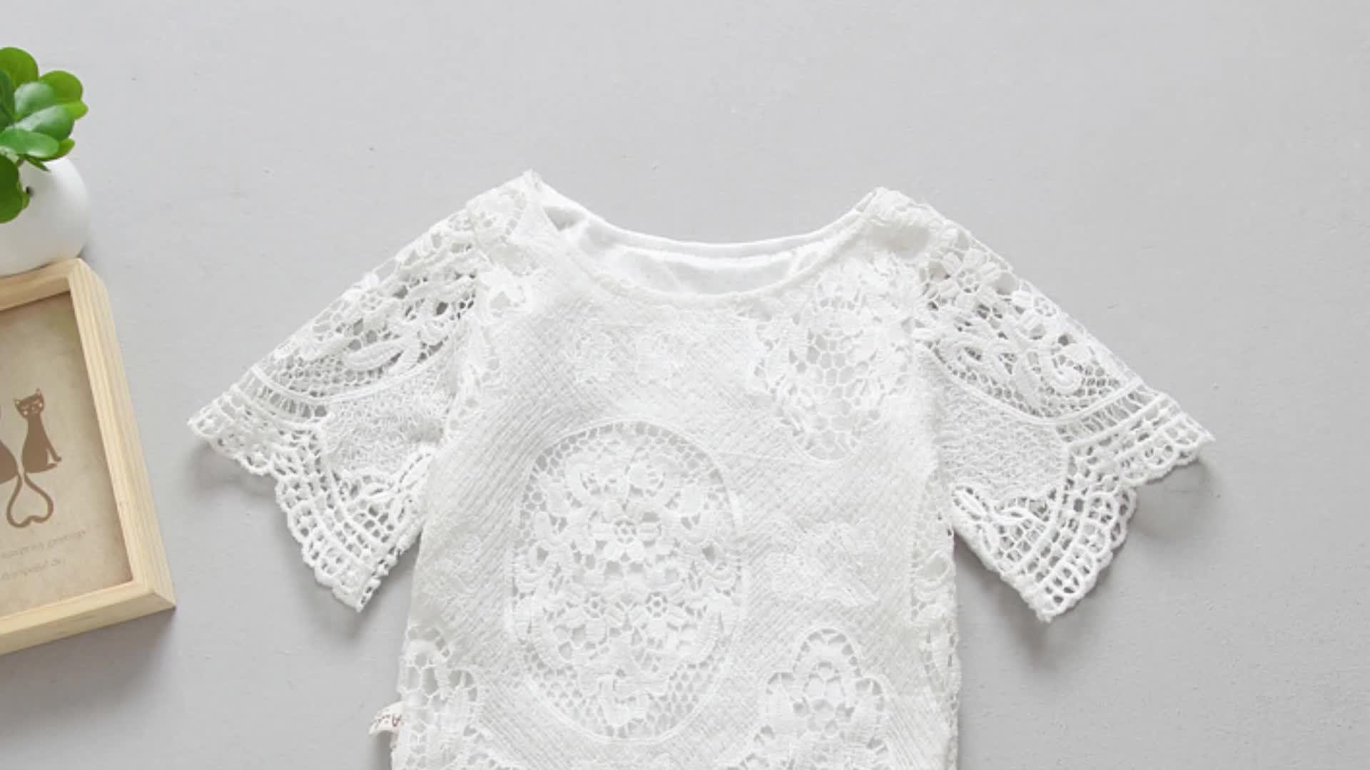 Wholesale Baby clothing Newborn short Sleeve girls lace Romper