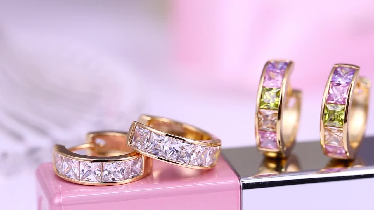29255 2018 xuping latest design diamond stone hoop huggie earrings ...