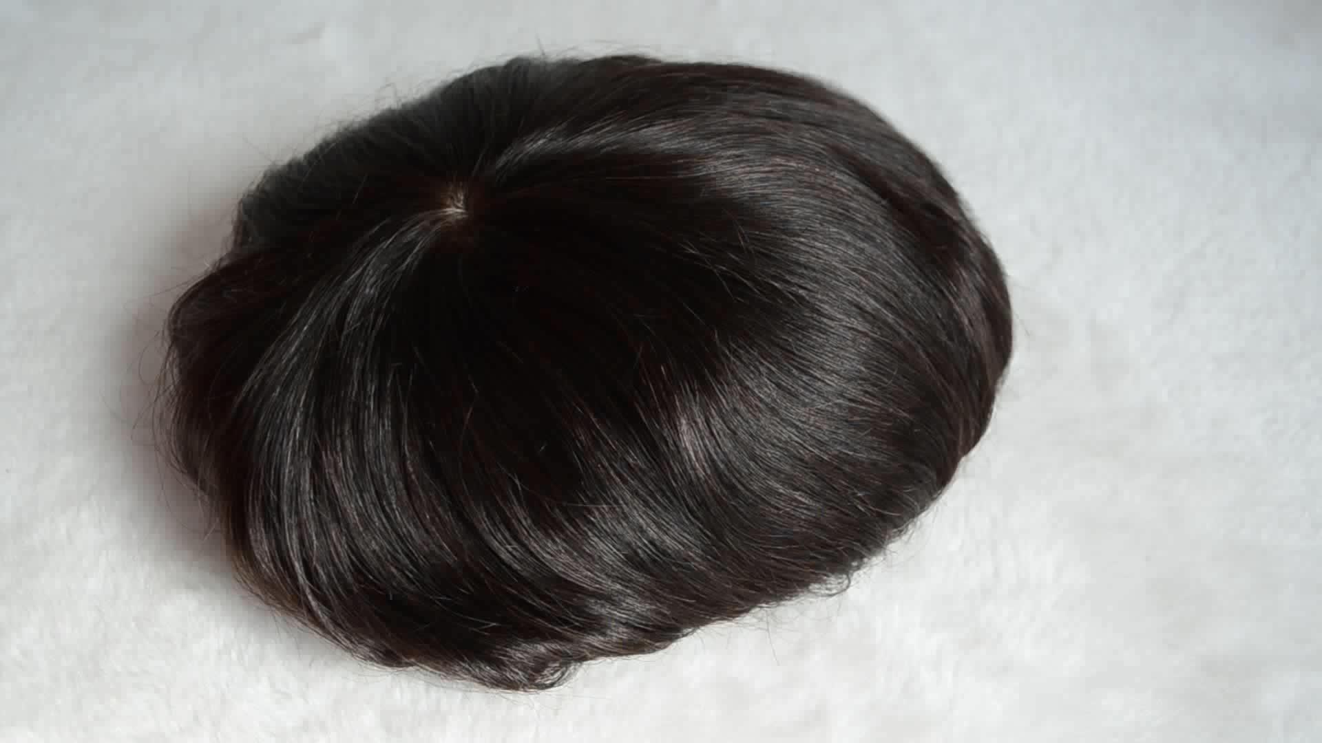 Umani di alta qualità grigio toupee dei capelli per gli uomini