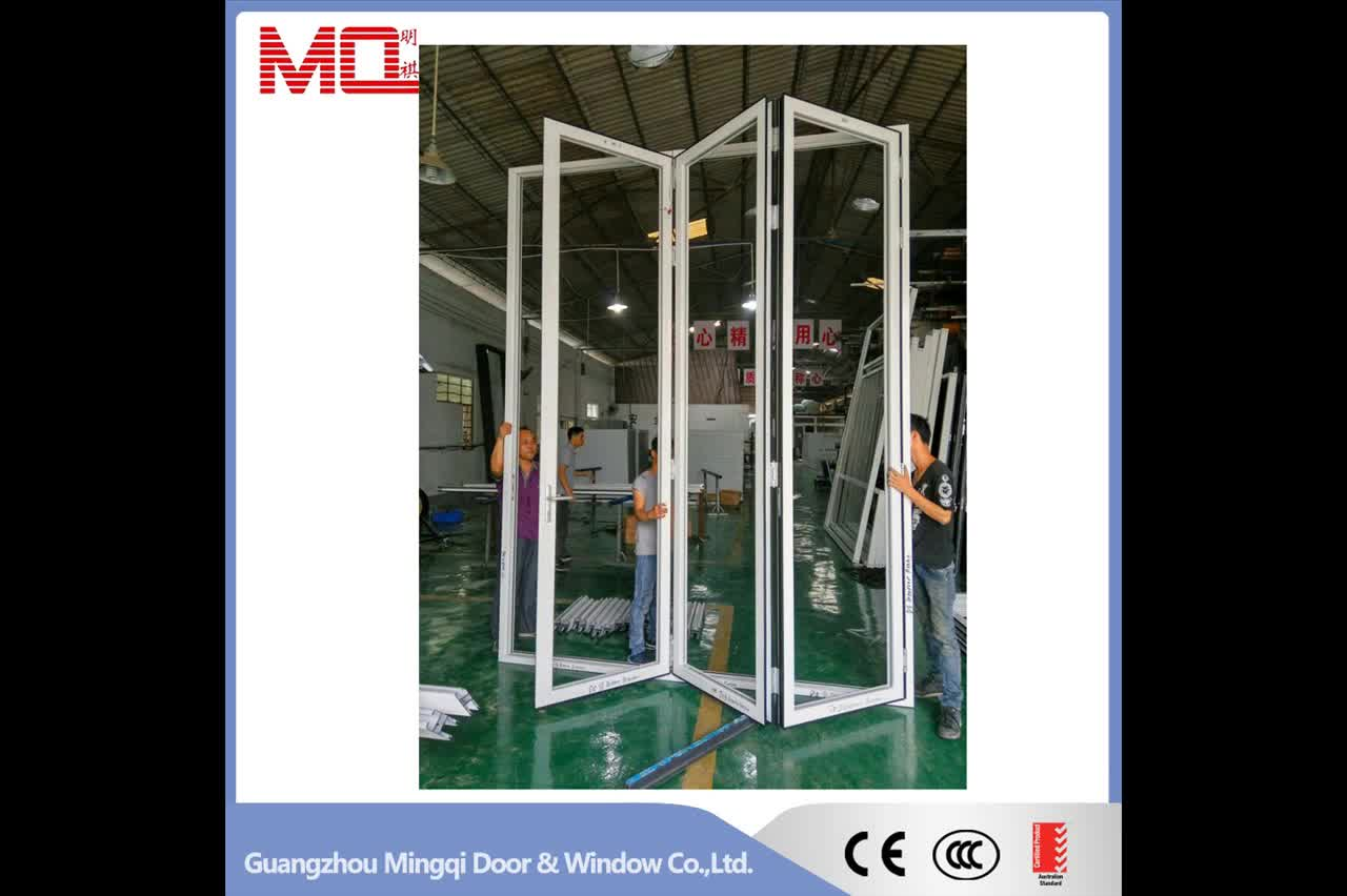Grey color of aluminium frame folding door aluminium glass folding door