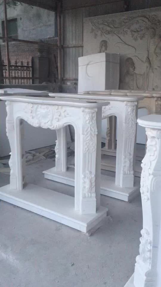 Custom Design Hand Carved Marble Fireplace Mantel