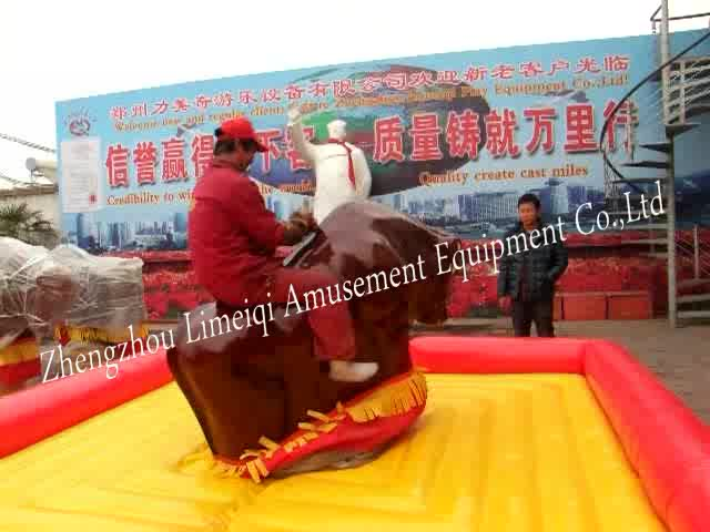 Top sales amusement park electric inflatable games red mechanical bull rides