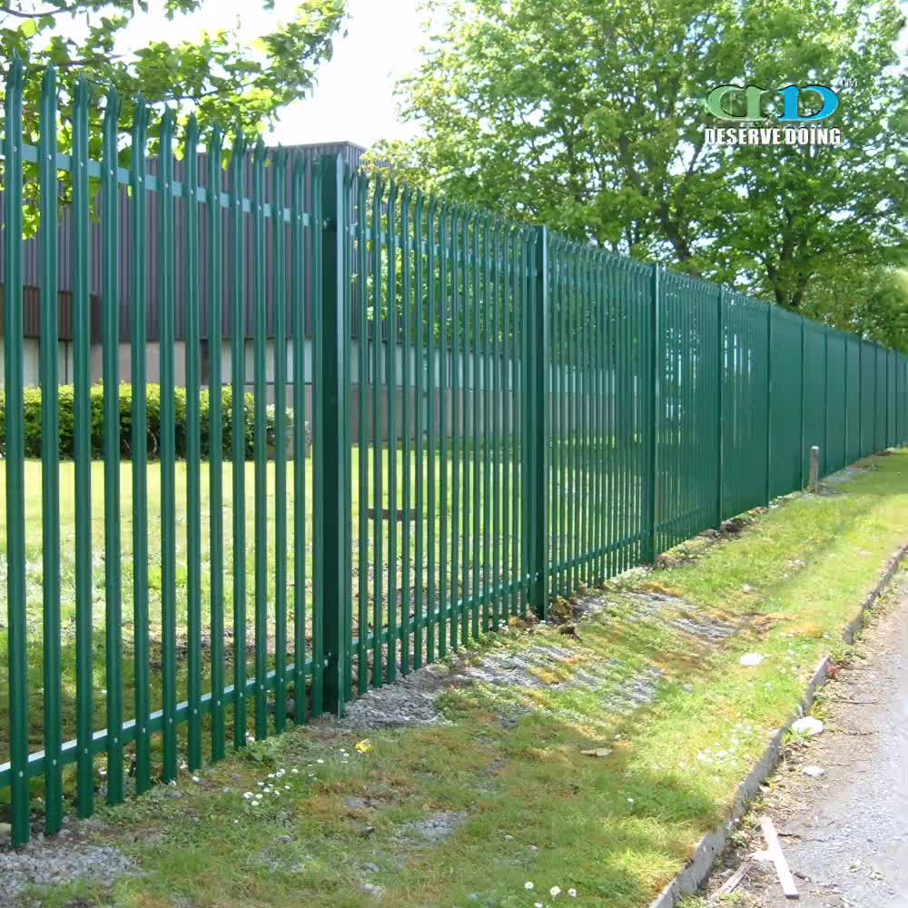 quality galvanised powder coated steel palisade fence from dd fence china buy quality. Black Bedroom Furniture Sets. Home Design Ideas