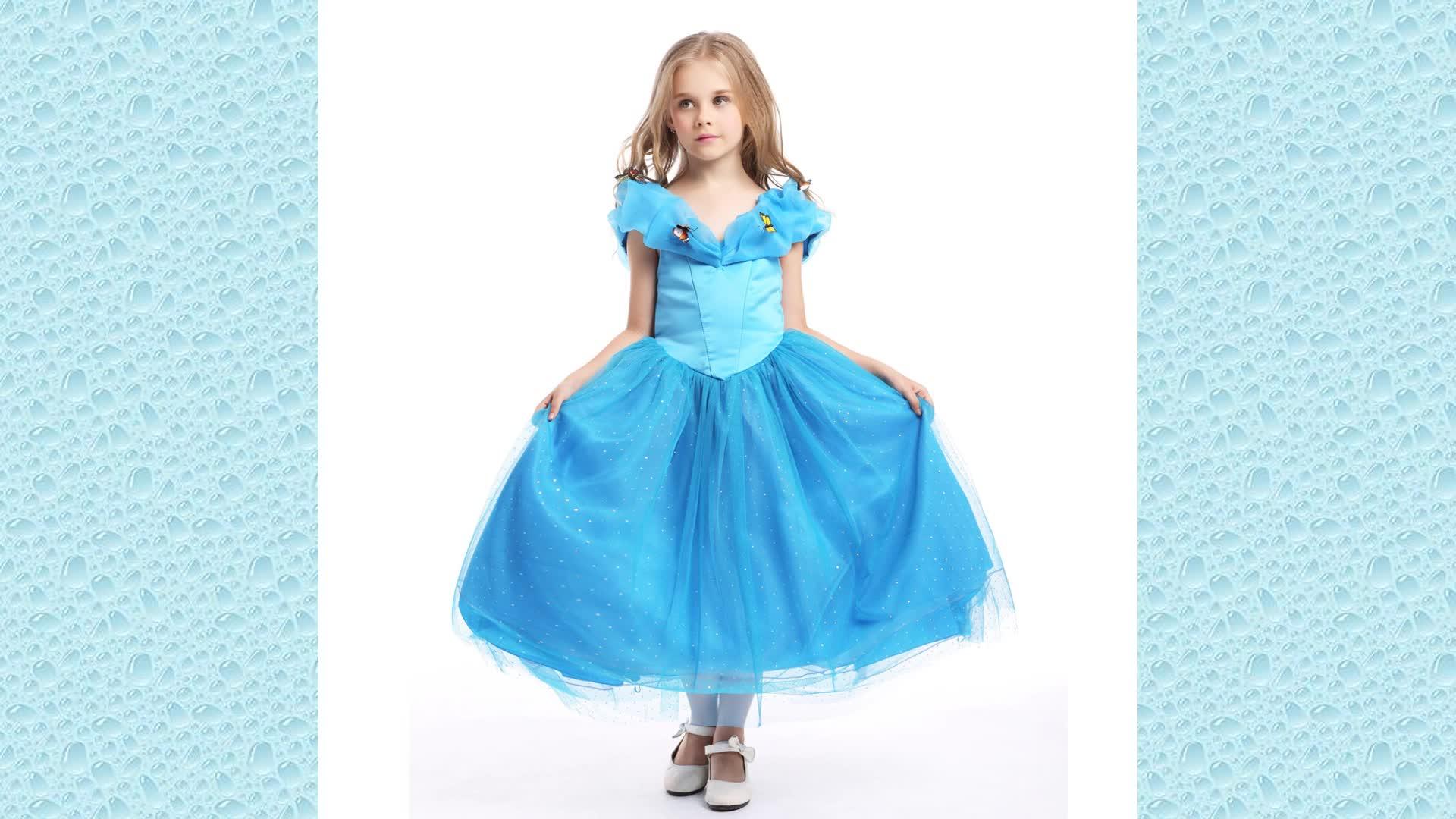 Cinderella cospay ชุดทีวีและภาพยนตร์เครื่องแต่งกาย 2016 ออกแบบใหม่สีฟ้าเจ้าหญิงชุดการออกแบบ