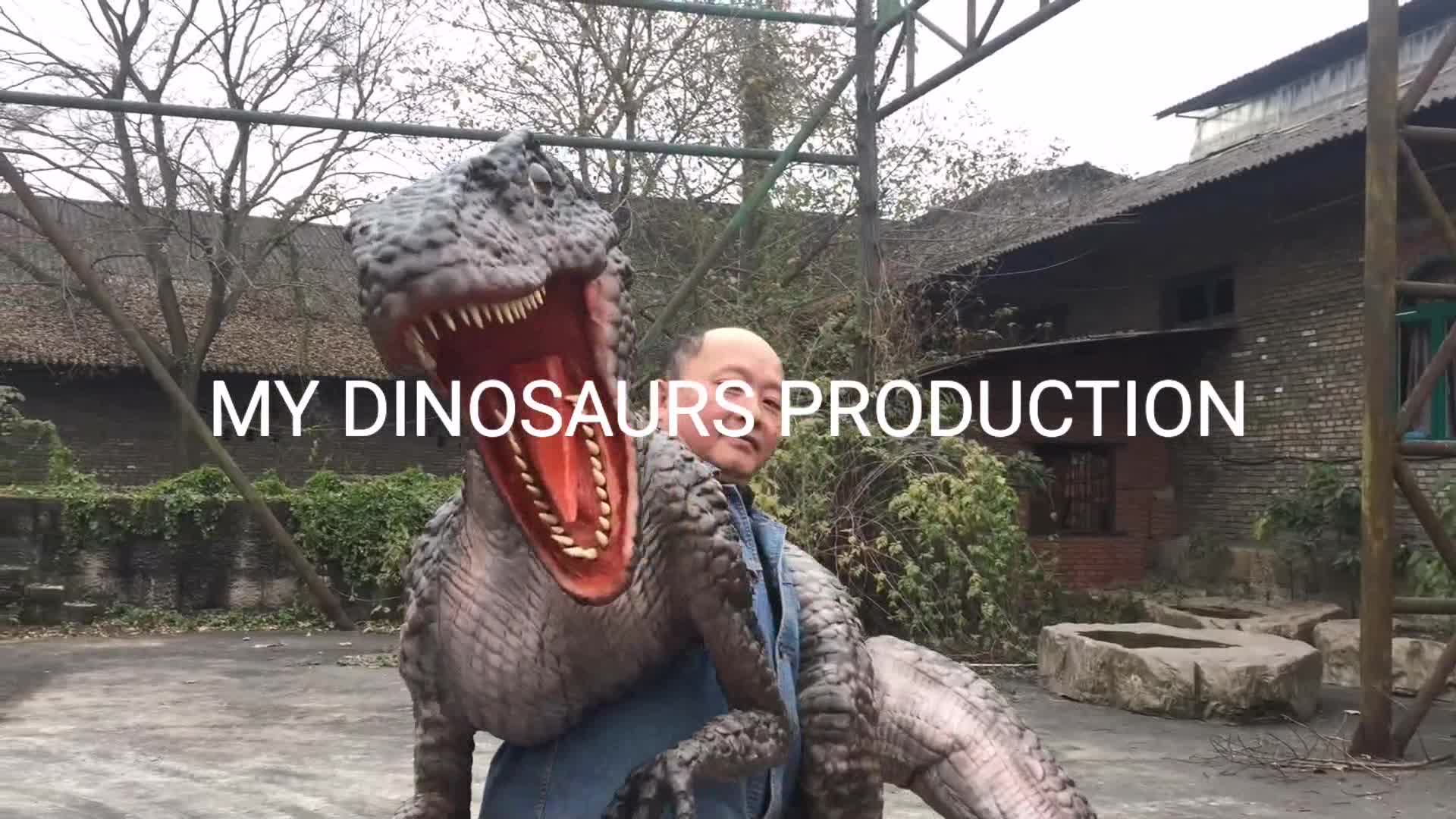 Benim Dino DP034 yürüyüş dinozor kukla kauçuk kostüm çocuklar dinozor kostüm