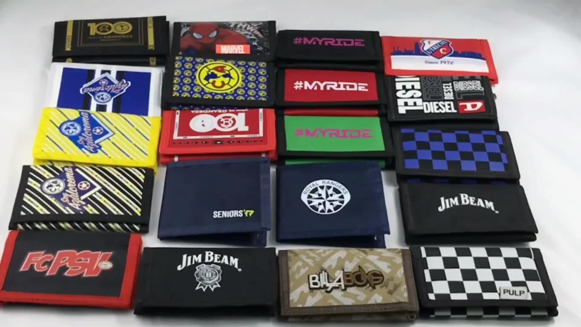 Promosyon polyester kabul özel logo baskılı ucuz tuval naylon cüzdan