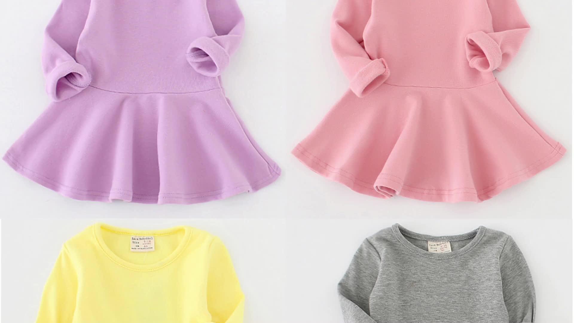 Sevwen осень опрятный стиль дети платья мода o-образным вырезом с длинным рукавом оборками Хлопковое платье для маленьких девочек