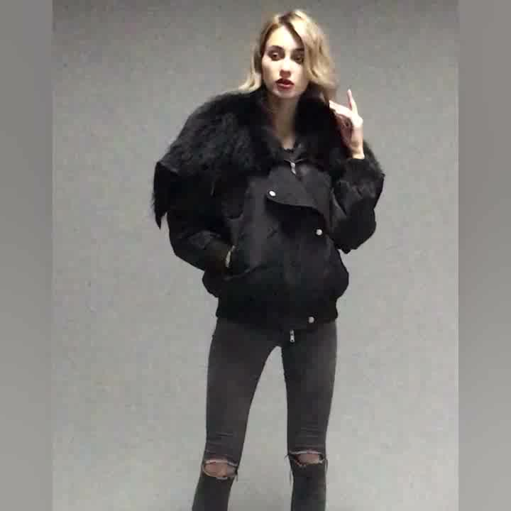 High quality women coat with big fur collar womens goose down jacket for winter