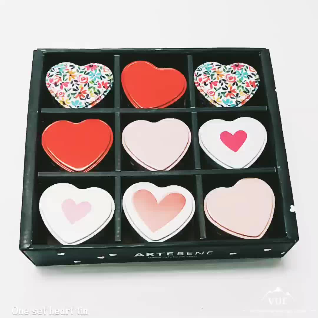 Promotional heart shape metal gift tin box