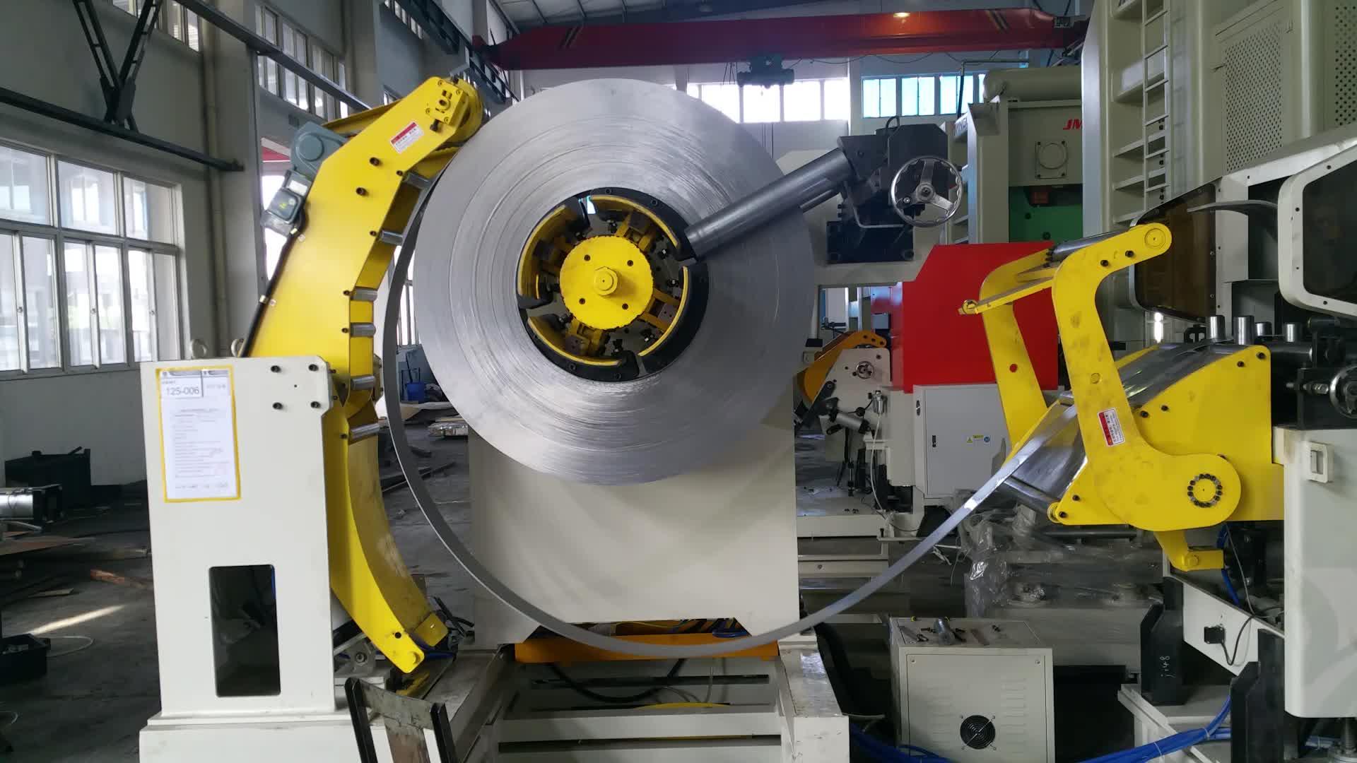 Metal Sheet Coil Uncoiler Straightener NC Servo Roll Feeder Machine 3 In 1
