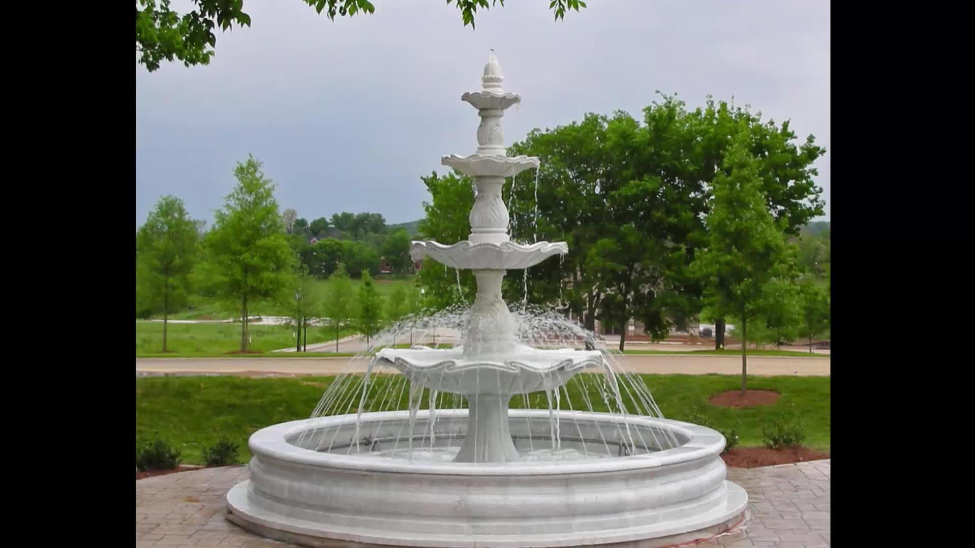 Outdoor marmo made fontana di acqua con lions sculture