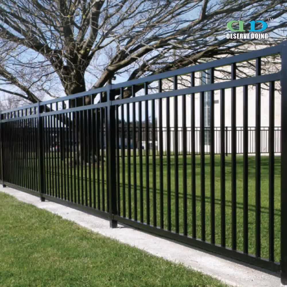 Black color steel picket fence panel aluminum