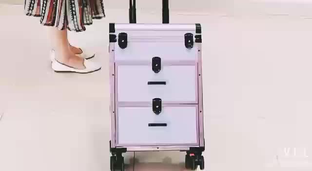 Yaeshii 2019 Rolling black Makeup Case Train Box Trolley Cosmetic Storage Case with inner Tray