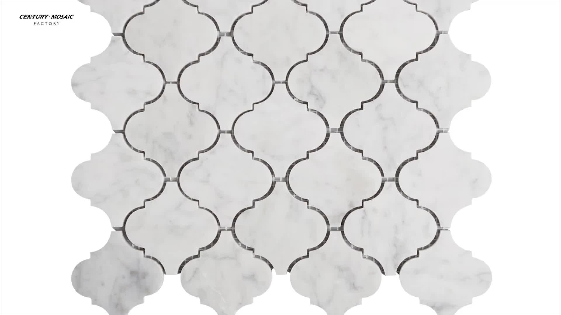 Arabesque Shape White Carrara Lantern Marble Mosaic Tile
