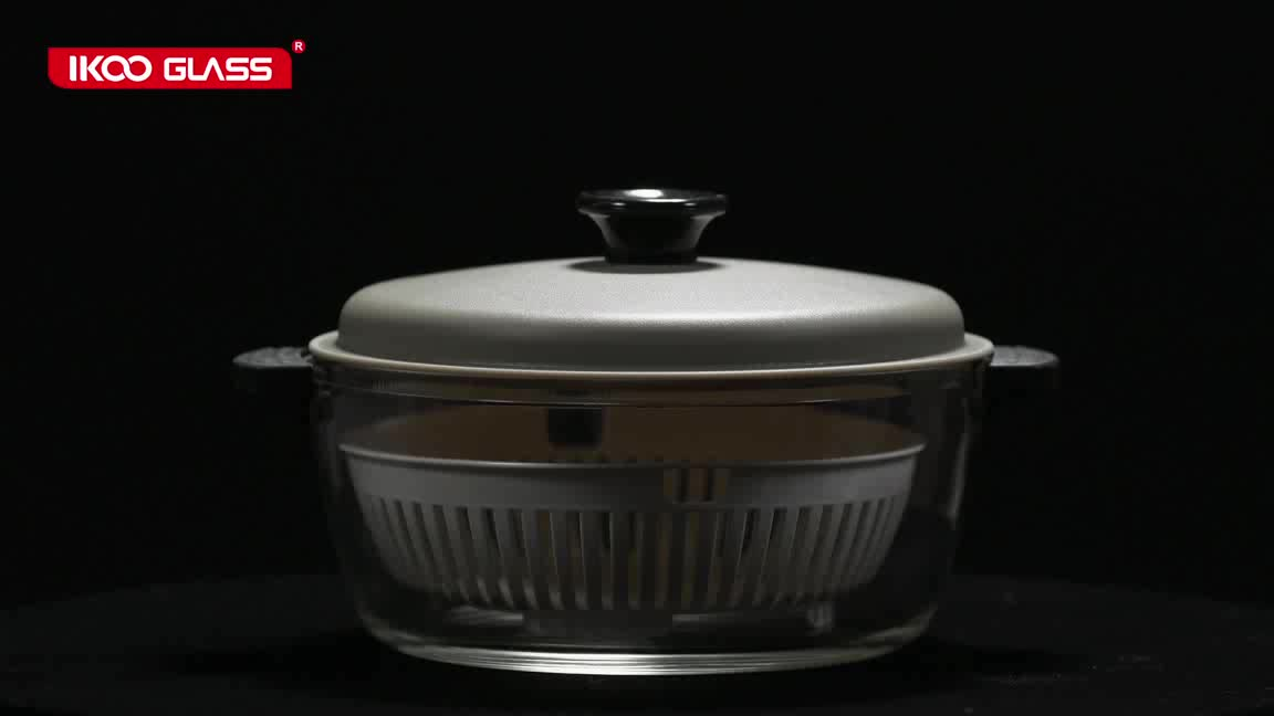 Microwave oven safe high resistant borosilicate lunch pot glass casserole with dishes