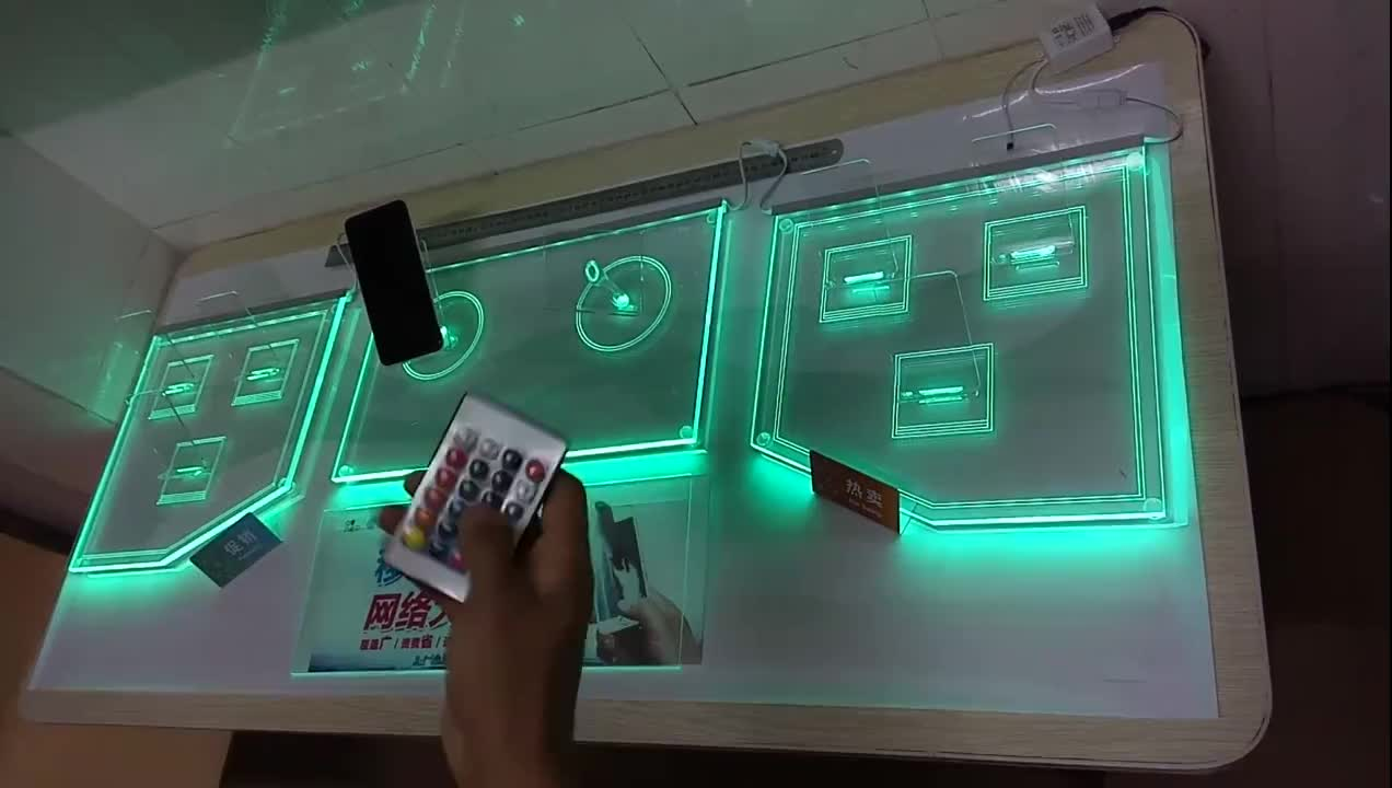 Acrylic display wall mounted poster holder with led light