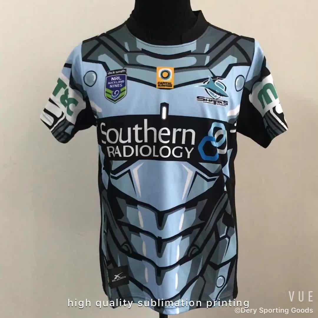 Hitam murah disublimasikan rugby jersey di 200gsm polyester bahan wicking kelembaban