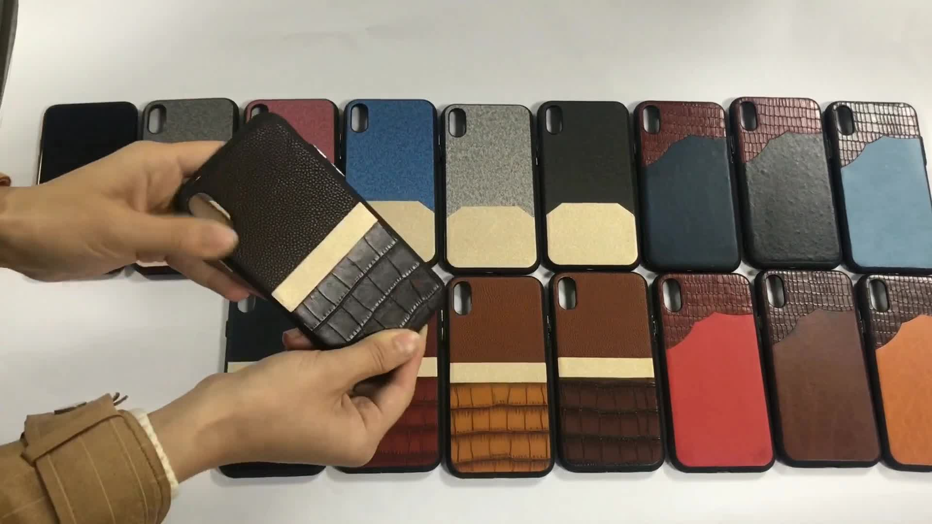Luxury PC back cover stitching multicolor PU leather cell phone case for iphone x case