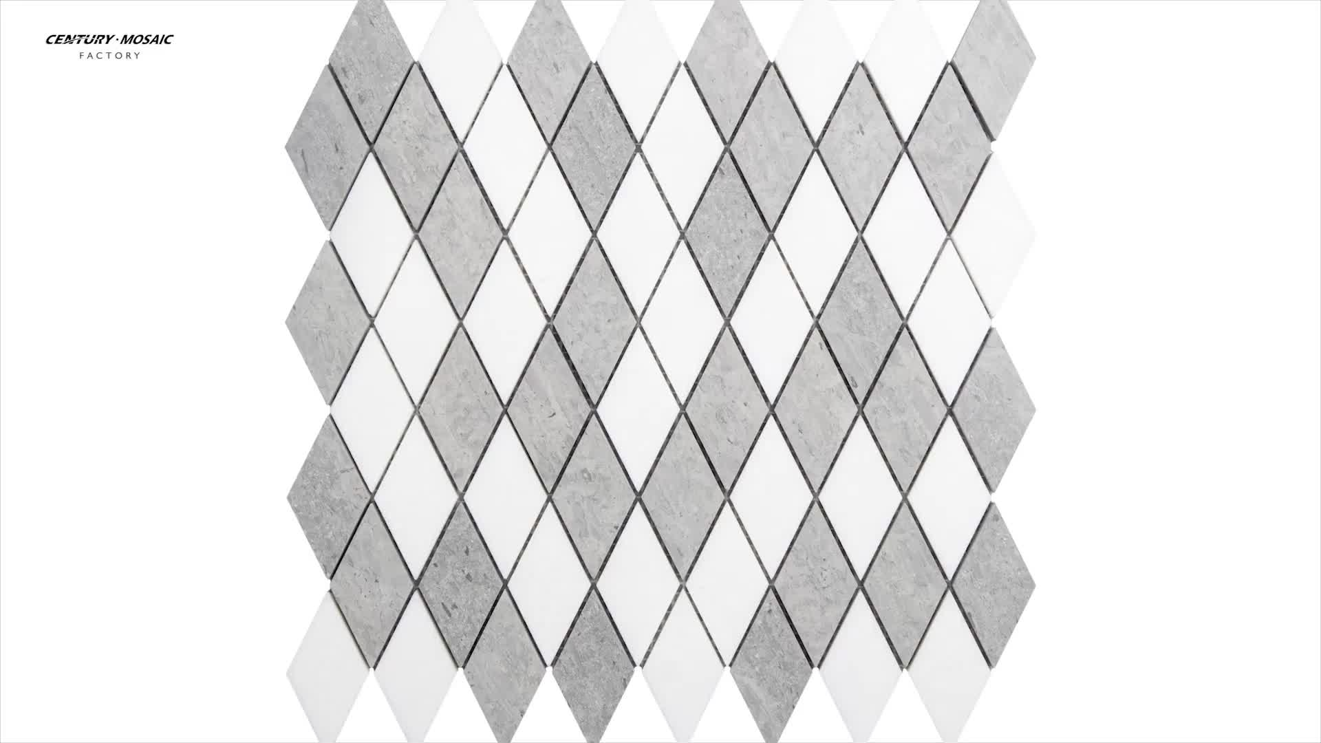Italy bianco carrara white polished diamond pattern marble floor tiles