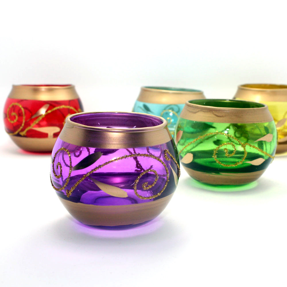 Aryl evening wedding candlestick glass candlestick stylish home aromatherapy candle candlestick cup ★ powder color optional