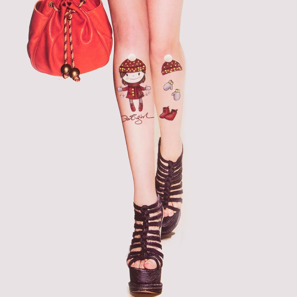 假纹身个性丝袜女4d超薄显瘦日系刺青印提花包芯连裤创意袜子