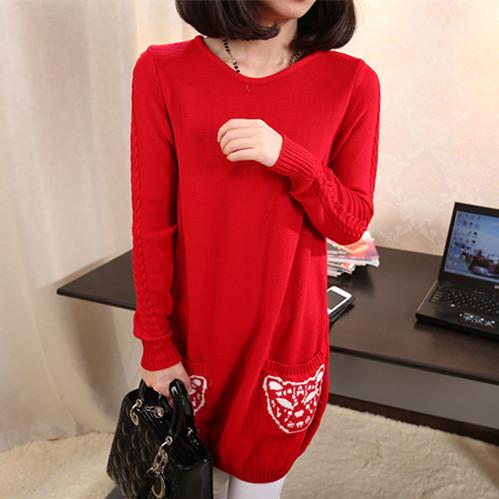 Свитер женский Новая Корейская версия 2014 длинный свитер платье пакет для похудения хип свитер пальто женщин плюс размер вязать топ