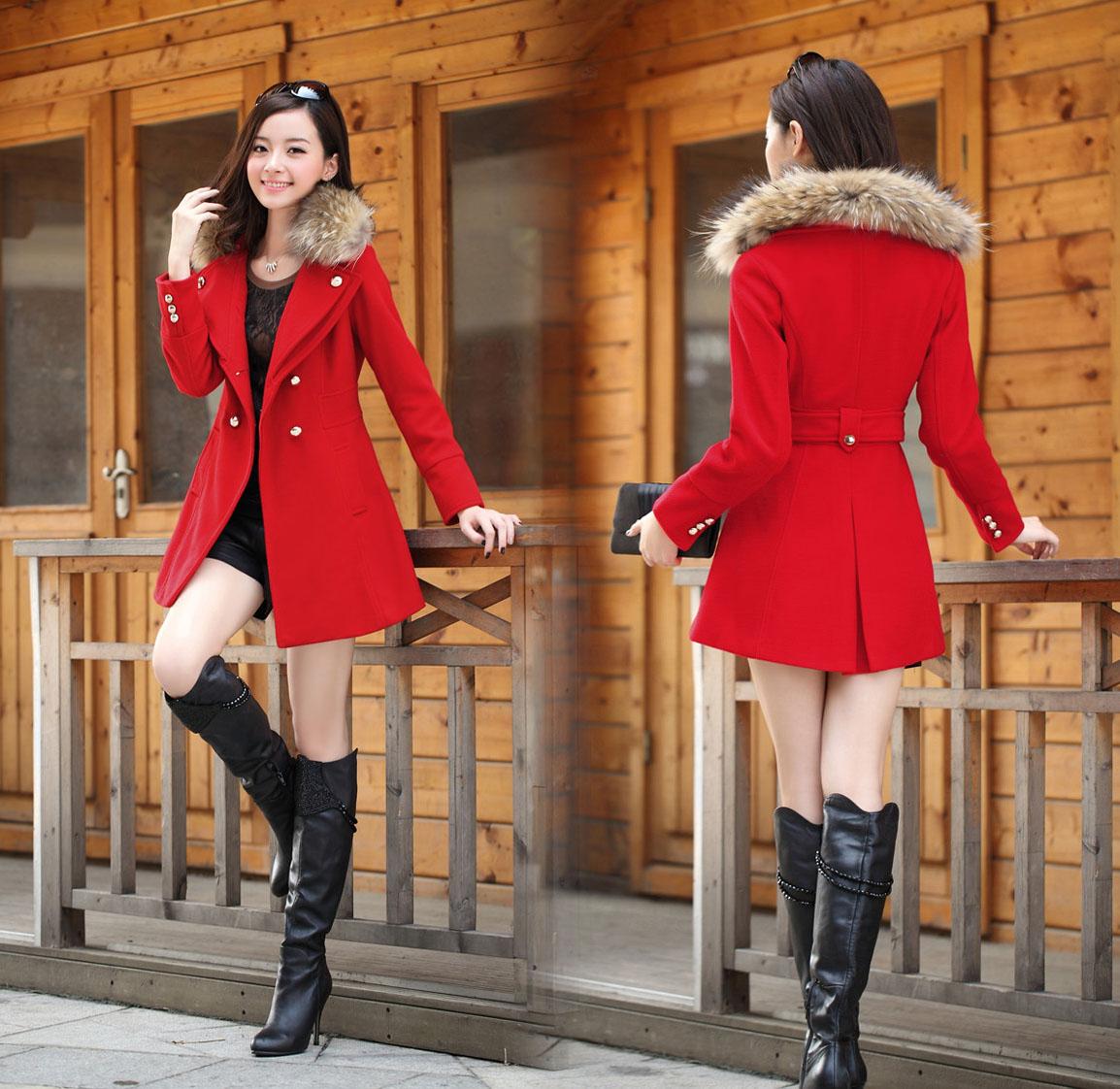 женское пальто 秋冬装结婚礼服红色新娘服装敬酒回门衣服订婚宴会大衣毛呢外套