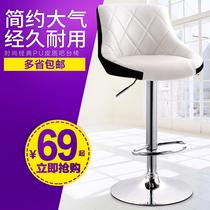 升降吧台椅简约吧椅收银高脚凳欧式吧凳前台酒吧椅子旋转靠背凳子