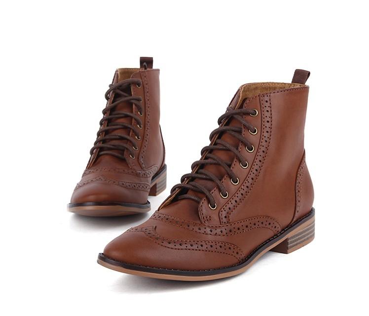 Женские сапоги Ретро Зара обувь Страдивари buluokeyinglun колледж, Оксфорд кружево короткие сапоги женщин 9122/241