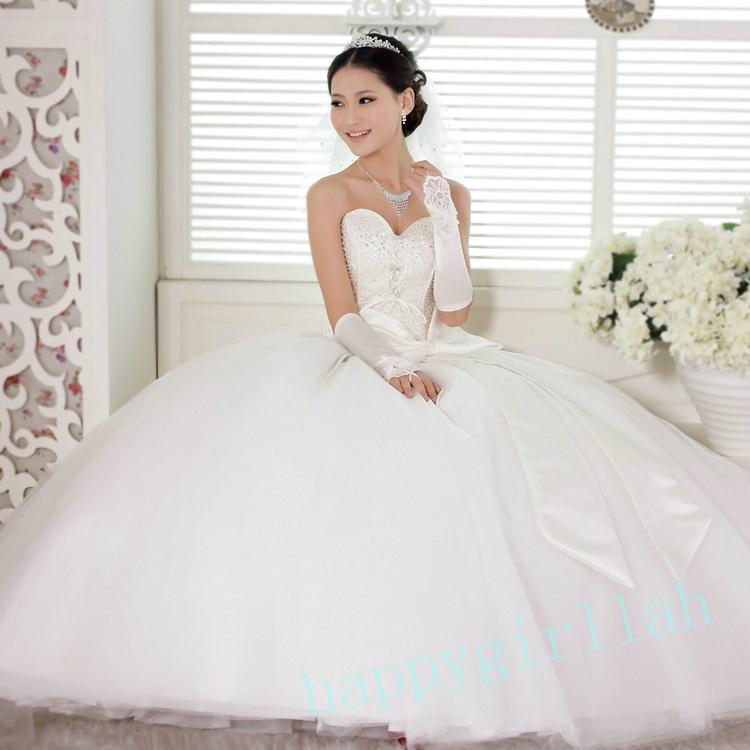 最新款2013新娘白色婚纱胖人加大码桃心型抹胸结婚礼服 韩版公主