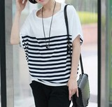2014 summer bat loose crew neck short sleeve striped bat Sleeve version of the plus size Ladies t shirt