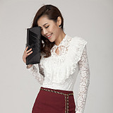 Autumn new flounces of lace long sleeve plus size tops at the end of 201,400 took a slim sexy lace shirt