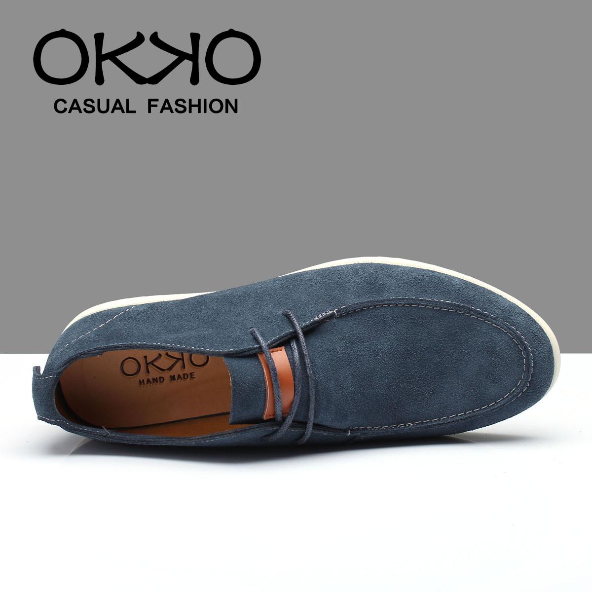 Демисезонные ботинки Okko K33 Обувь на тонкой подошве ( для скейтборда ) Для отдыха Двухслойная натуральная кожа Острый носок Шнурок Весна и осень