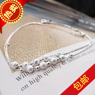 Silver anklets double eight beads anklet silver chain foot delicate feminine Lady sent the birthday gift pack mail