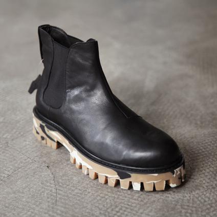 男士冬靴子 复古迷彩牛津厚底增高皮靴图片