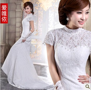 2013 latest very wang luxury lace long dress code sleeve wedding dress fat mm thin