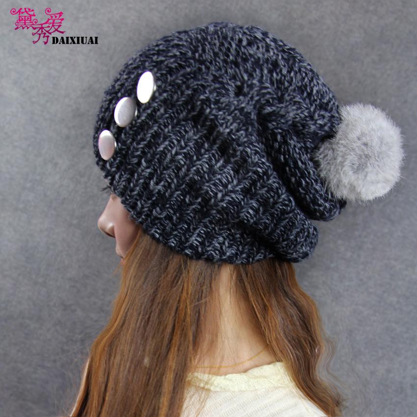 Головной убор Dai Xiu dxamxm/070093 Вязаные/трикотажные шапки Шерсть Заклепки Универсальный тип Зима