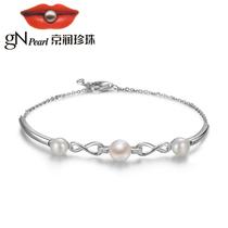 京润 纤柔 925银镶淡水珍珠手链 6-8mm馒头形 白色 送女友