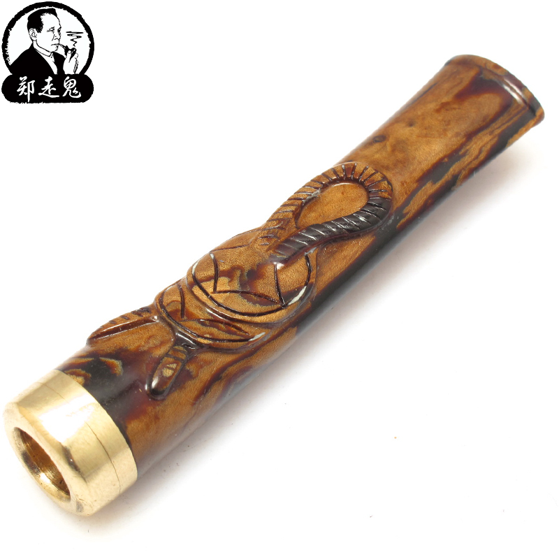 Authentic away Zheng Hai willows Willow Willow cigarette holder blood filter cigarette holder factory direct carving can be clean mail