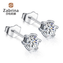 Korea lovely simple six-claw hypoallergenic the Super Flash inlay zircon 925 sterling silver stud earrings to send his girlfriend genuine