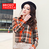 BRIOSO2013 <span class=H> spring </span> <span class=H> quality summer women&#39;s </span> Women&#39;s long sleeve plaid shirt Korean Slim large size shirts blouses