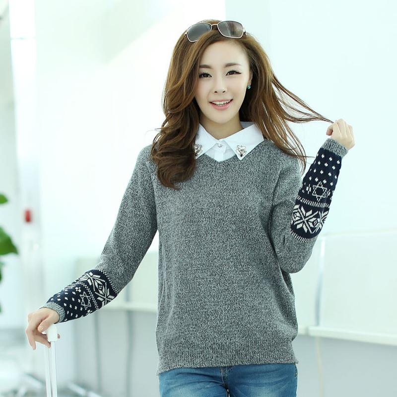 Свитер женский Специальные Корейский осенью 2013 новый стильный два куска свитер свитера подростковой сплошной цвет рубашки