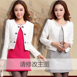 Thick woolen suit small European style stand -sleeved O Neck slim Short Jacket