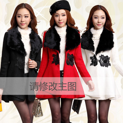 Korean style slim woolen coat fur collar big size