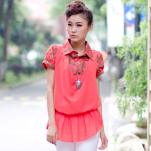 2013 summer new women's cotton Ms. Minnie t-shirt female short-sleeved chiffon shirt fake two female c537