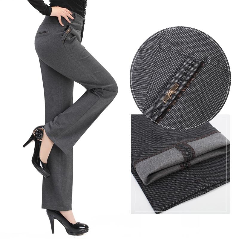 Классические брюки 2013 Прямой Корейский Длинные брюки Высокая талия Ткань с добавлением хлопка Осень 2013