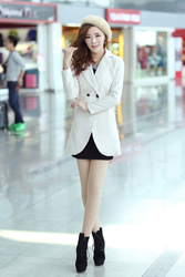 Korean style woolen coat jacket coat large lapel suit